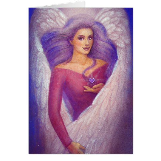 An Angel's Amethyst Crystal Heart Card