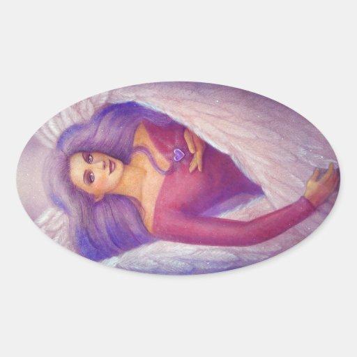 An Angel's Amethyst Crystal Heart Oval Sticker