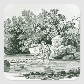 An Angler in a River Pool, from 'British Square Sticker