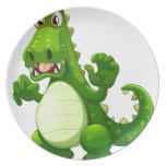 An angry crocodile plates