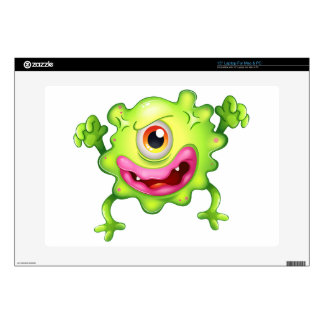 """An angry green one-eyed monster skins for 15"""" laptops"""