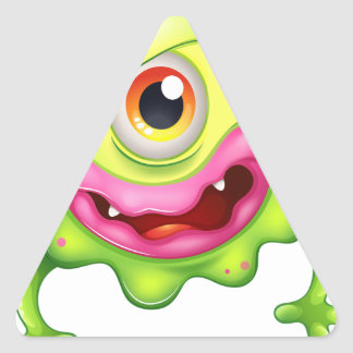 An angry green one-eyed monster triangle sticker