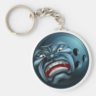 An angry mean looking bowling ball sports cartoon keychain