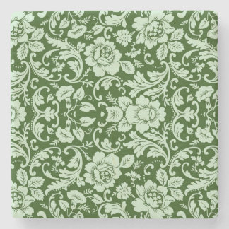 An antique floral damask stone coaster