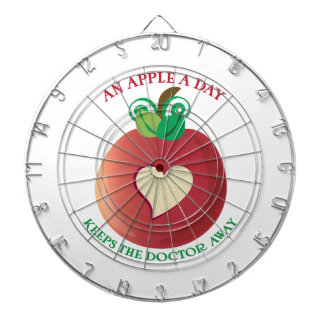 An Apple A Day Dartboard With Darts