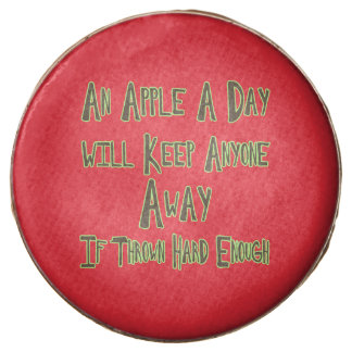 An Apple A Day - Funny Quote, Red Background Chocolate Dipped Oreo