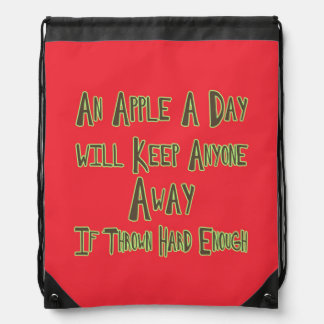 An Apple A Day - Funny Quote, Red Background Drawstring Bag