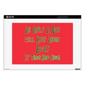 An Apple A Day - Funny Quote, Red Background Skins For Laptops