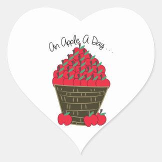 An Apple A Day Heart Sticker