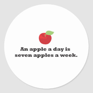 An Apple A Day...is 7 apples a week Classic Round Sticker