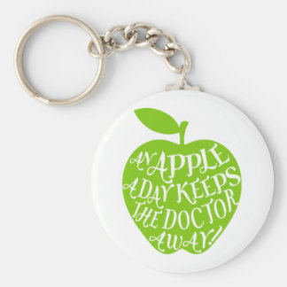 An apple a day keeps the doctor away basic round button keychain