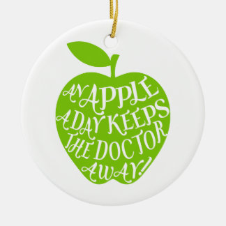 An apple a day keeps the doctor away ceramic ornament