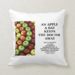 An Apple A Day Keeps The Doctor Away (Food Humor) Throw Pillows