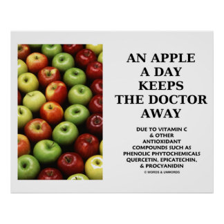 An Apple A Day Keeps The Doctor Away (Food Humor) Posters