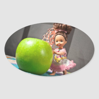 An Apple a Day Keeps the Doctor Away Oval Sticker