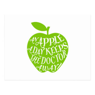 An apple a day keeps the doctor away postcard