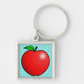 An Apple A Day Keeps The Doctor Away Silver-Colored Square Keychain