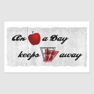 An apple a day keeps windows away rectangular sticker