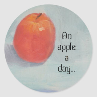 AN APPLE A DAY! CLASSIC ROUND STICKER
