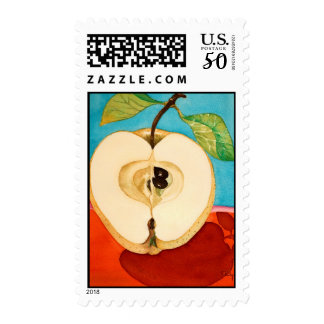 an apple a day ..watercolor postage