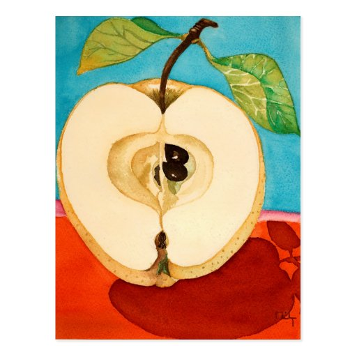 an apple a day ...watercolor postcard