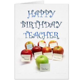 An apple for the teacher birthday card