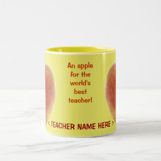 An apple for the world's best teacher! Two-Tone coffee mug