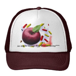 "An apple keeps the doctor away"""""""""" trucker hats"