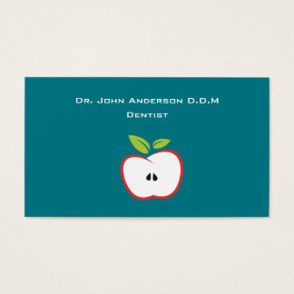 An apple with a red outline and green leaves business card