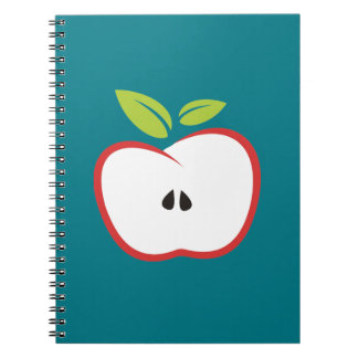 An apple with a red outline and green leaves notebook