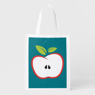 An apple with a red outline and green leaves reusable grocery bag