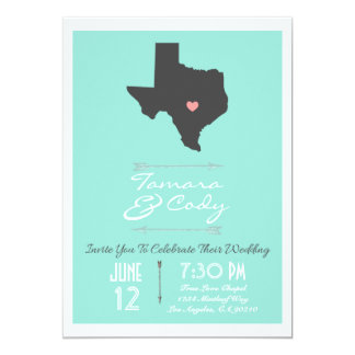 An Aqua Colored Texas Wedding Invitation
