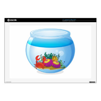 "An aquarium with sea creatures decals for 17"" laptops"