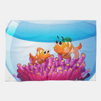 An aquarium with two orange fishes kitchen towels