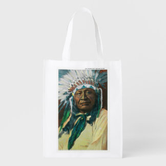 An Arapahoe Indian Chief PortraitColorado Grocery Bag