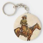 An Arizona Cowboy by Remington Vintage Western Art Key Chain