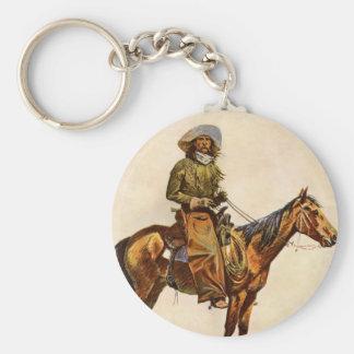 An Arizona Cowboy by Remington Vintage Western Art Basic Round Button Keychain