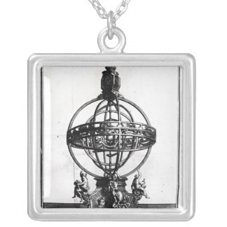An Armillary Sphere of the Copernican System Square Pendant Necklace