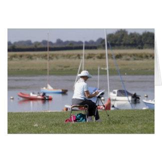 An artist at Bosham Harbour, West Sussex, England. Card