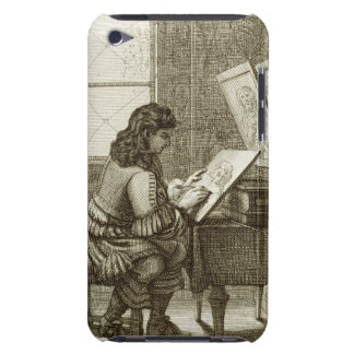 An artist copying onto an engraving plate, printed barely there iPod case