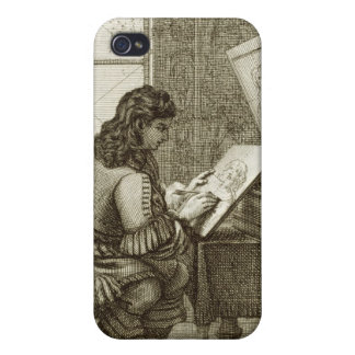 An artist copying onto an engraving plate, printed iPhone 4 covers