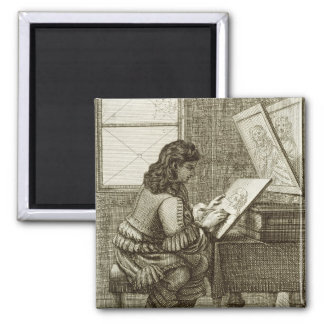 An artist copying onto an engraving plate, printed magnet