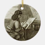 An artist copying onto an engraving plate, printed christmas tree ornament