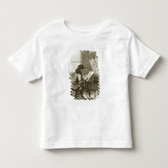 An artist copying onto an engraving plate, printed toddler t-shirt