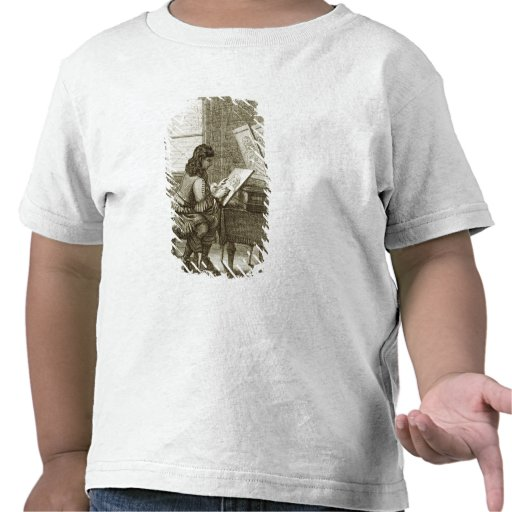 An artist copying onto an engraving plate, printed t shirts