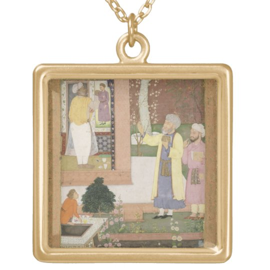 An artist decorating the interior of a garden pavi gold plated necklace