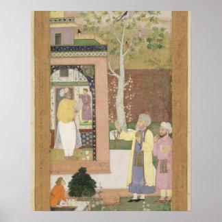 An artist decorating the interior of a garden pavi poster