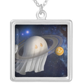 An artist's Halloween illustration Square Pendant Necklace