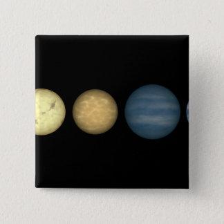 An artist's rendition comparing brown dwarfs 2 pinback button