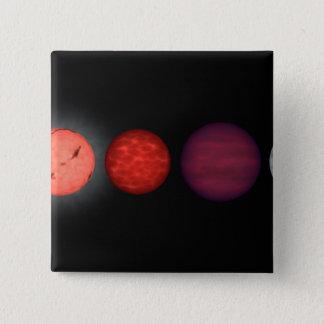 An artist's rendition comparing brown dwarfs pinback button